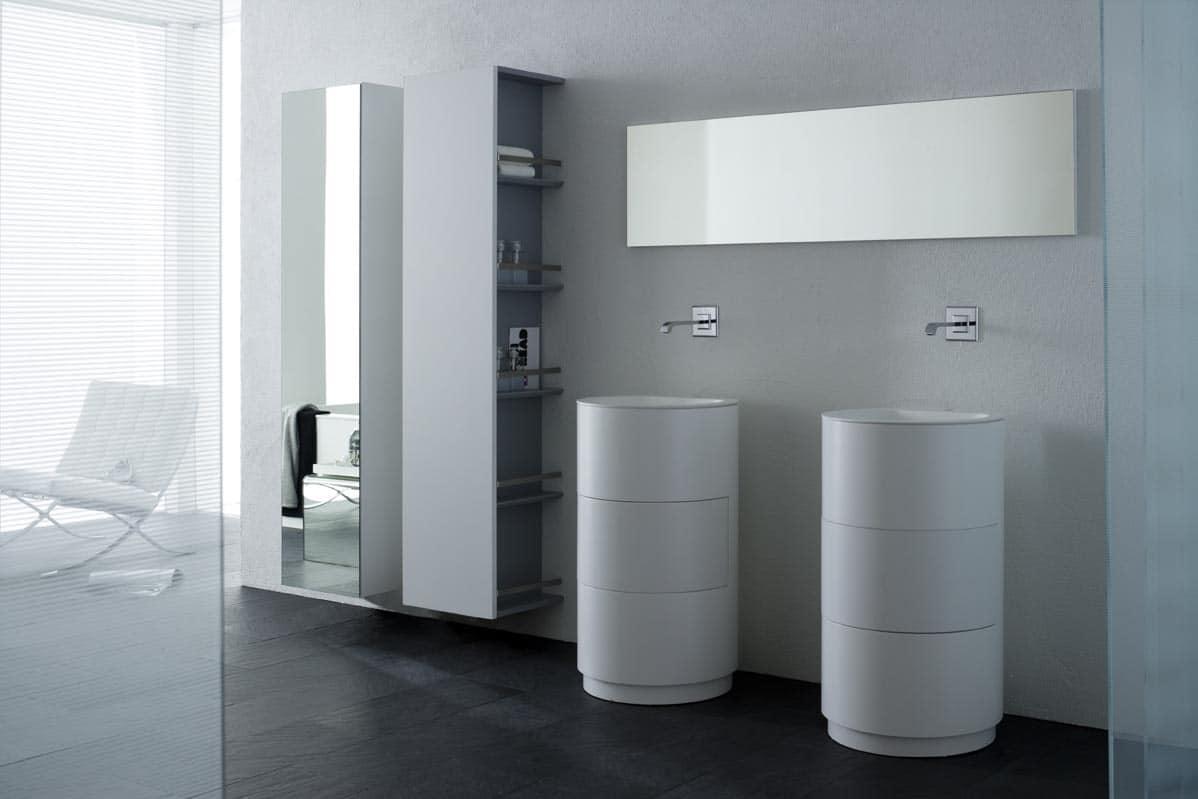 Lavabo dotato di un cassetto girevole portaoggetti idfdesign for Lavabo bagno prezzi