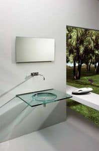 Nost, Lavabo da parete, fatto in cristallo trasparente