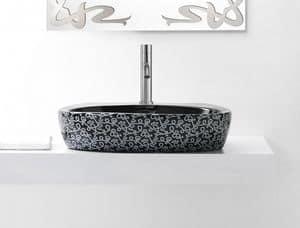 OVAL DECO BASIN, Lavabo color nero d'appoggio in ceramica