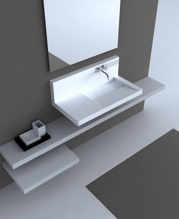 lavabo a parete in corian con miscelatore idfdesign. Black Bedroom Furniture Sets. Home Design Ideas