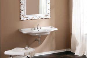 ROYAL CONSOLLE 85, Lavabo in ceramica, installazione a parete, su mobile o con piedini
