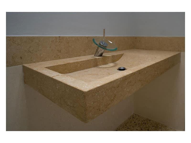 Lavandino sospeso realizzato in pietra idfdesign - Lavandini bagno da incasso ...