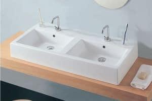 WELL 2, Lavabo in ceramica, con doppia vasca