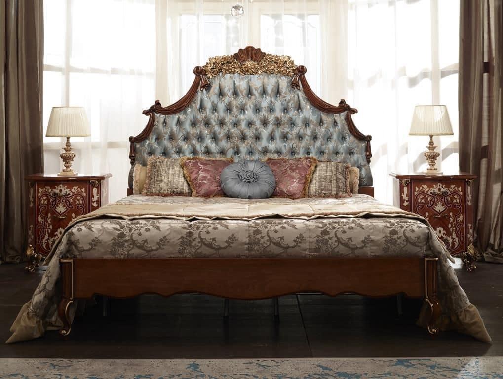 Letto matrimoniale testiera imbottita in legno massello - Testiera letto in legno ...