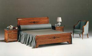 2465 LETTO, Letto classico in legno intarsiato
