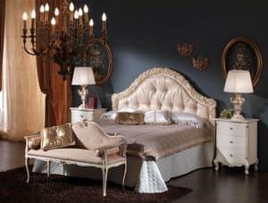 3515 LETTO, Letto con testiera imbottita ideale per camere da letto classiche