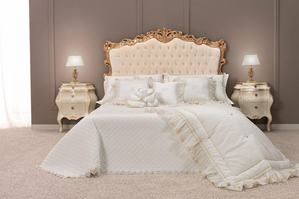 Letto matrimoniale classico di lusso con testiera imbottita finitura capitonn idfdesign - Migliore marca di piumini da letto ...