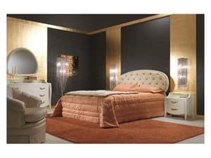 Art. 2010-T Letto, Letto rivestito in pelle, lavorazione capitonné, per camere di lusso