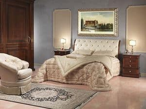 Art. 2026/952/2/C letto, Letto lussuoso, in legno e pelle, per stanza d'albergo