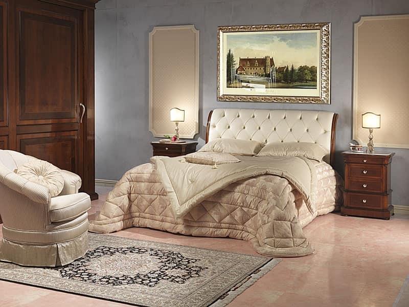 Letto lussuoso in legno e pelle per stanza d 39 albergo idfdesign - Camere da letto in pelle ...