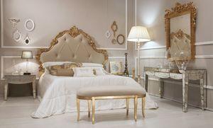 Art. 21644, Lussuoso letto in finitura oro anticato