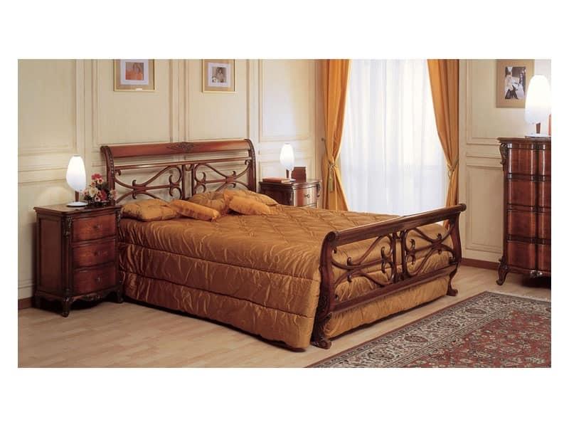 Letto in legno lavorato a mano per arredo camera classica - Camera da letto in francese ...