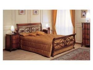Art. 294/T '700 Francese, Letto in legno lavorato a mano, per arredo camera classica