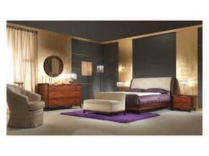 Art. 509 Letto, Solido letto in palissandro, testiera in pelle, per camera in stile