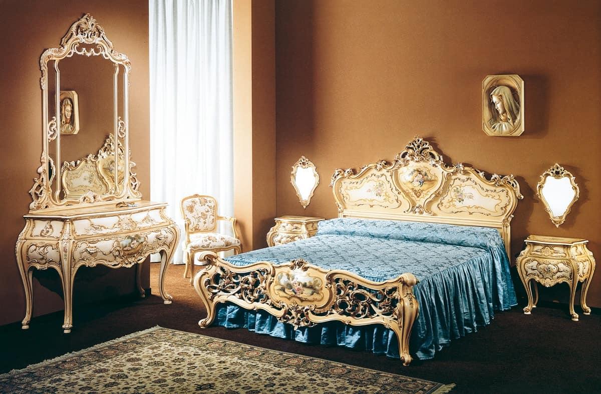Letti classici di lusso decorato a mano per stanza d for Letti classici