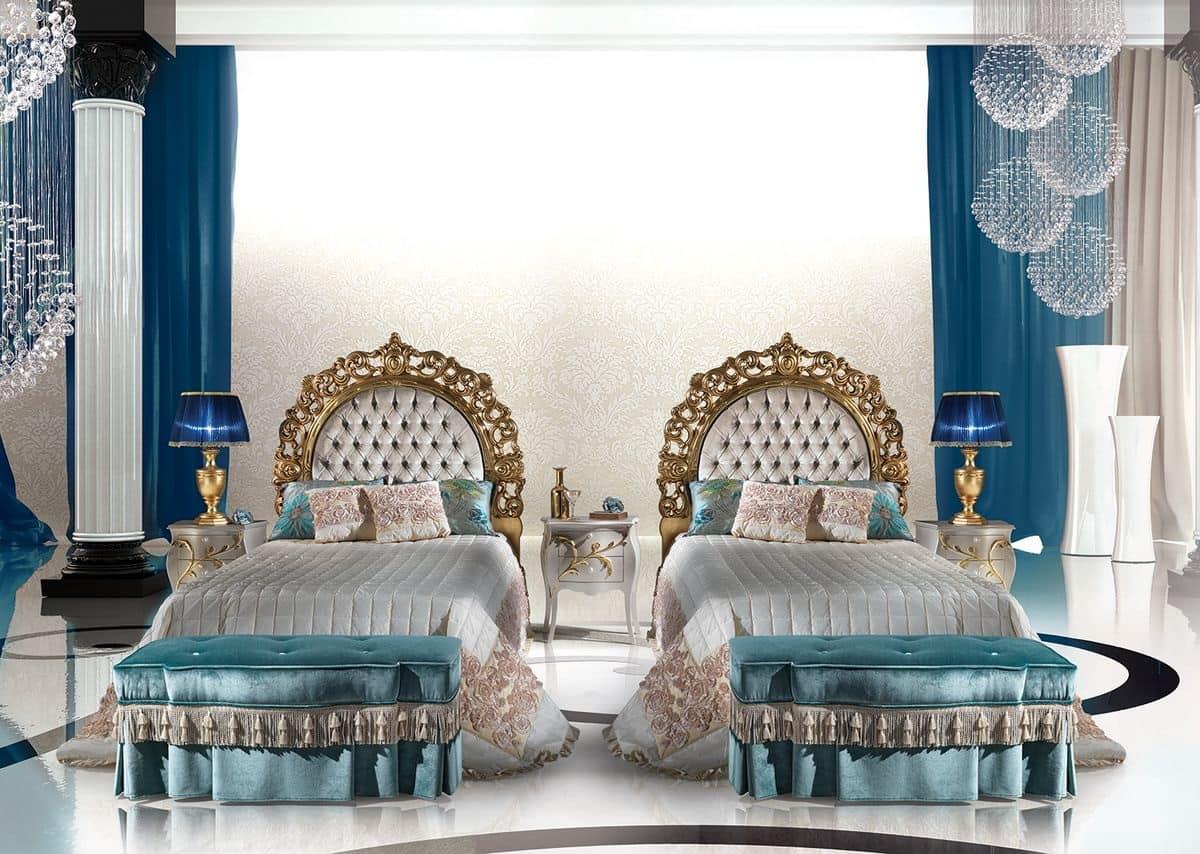 Calipso Bedroom, Letto singolo classico di lusso con testiera imbottita