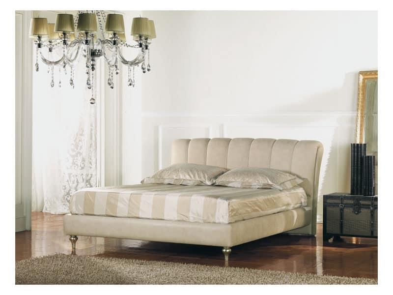 Letto matrimoniale in legno testata imbottita idfdesign - Testata letto in legno ...