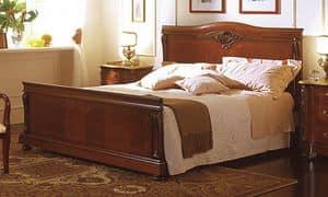 Canova letto, Letto in noce e piuma di noce, intarsiato classico