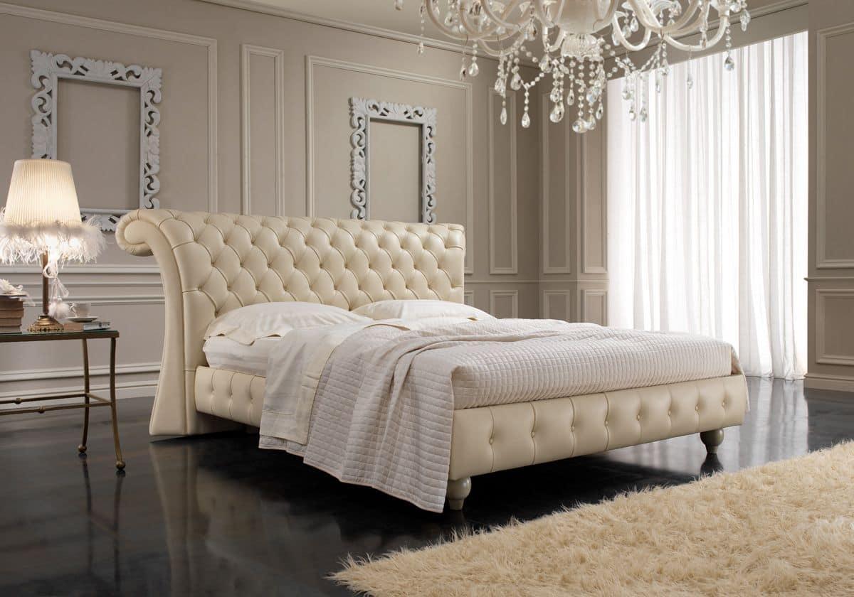 Chesterfield, Letto matrimoniale in stile inglese, testiera capitonnè, per camere da letto, hotel, ville