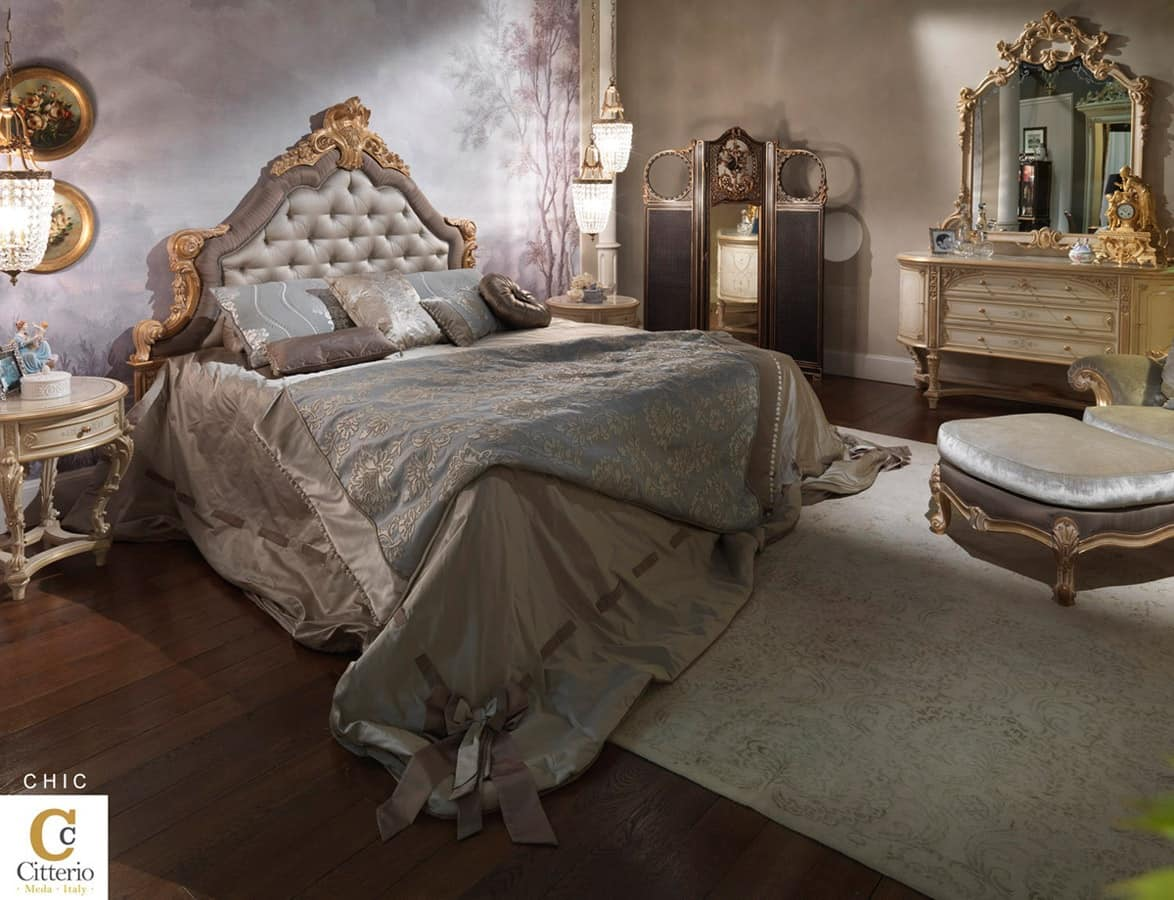 Camera da letto classica di lusso letto intagliato classico idfdesign - Camere da letto classiche di lusso ...