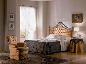 Cimabue letto, Letto intagliato, capitonnè, foglia oro, camere classiche