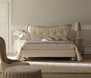Desir� 6082 letto, Letto con testiera imbottita, in legno di Tulipier finitura argento, per camere dallo stile classico