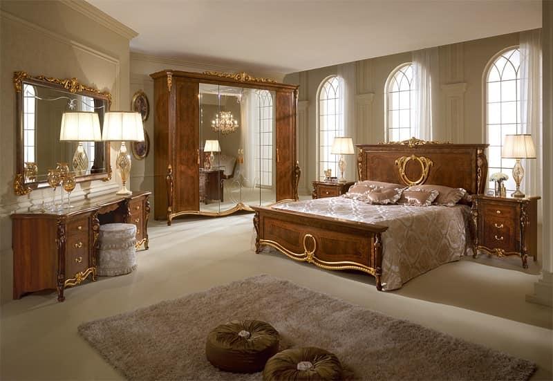 Letto in legno con testiera decorata camere da letto - donatello letto