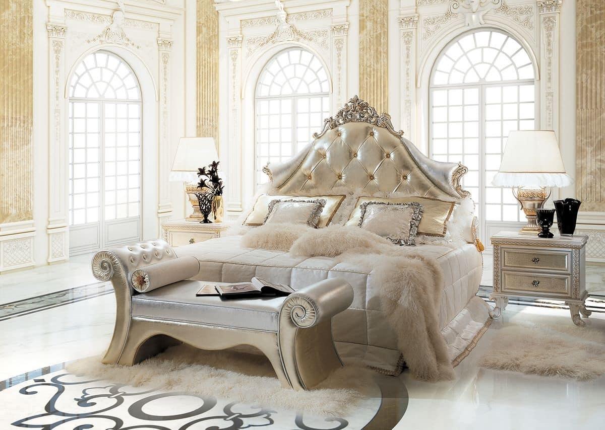 Letto classico di lusso testiera imbottita capitonn idfdesign - Camere da letto classiche di lusso ...