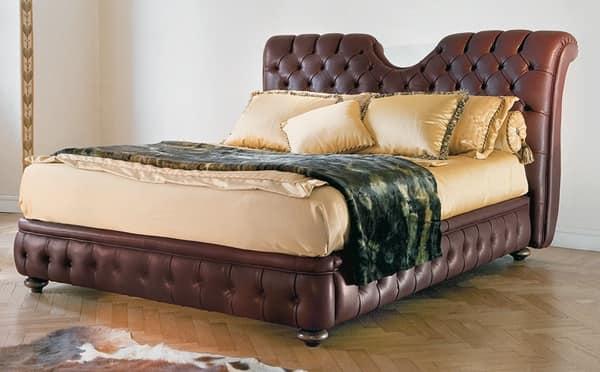 Letto Classico Testiera Decorata Rosita : Letti in legno decorato eleanor