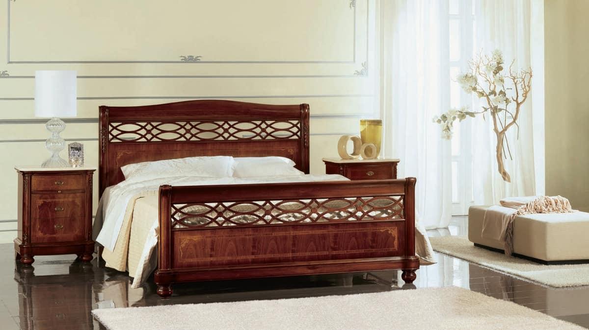 Gardenia letto traforato, Letto traforato e intarsiato a mano, per camere classiche