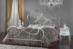 Greta Letto argento, Letto in ferro, decorazioni curvilinee, per alberghi