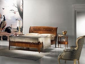 L334 Cornucopia letto, Letto in legno, classico di lusso, inserti in madreperla
