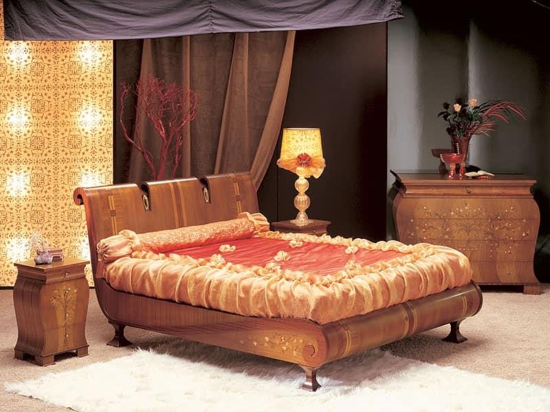 LE02 Le Volute letto, Letto in legno curvato, decorato a mano, per camere di lusso