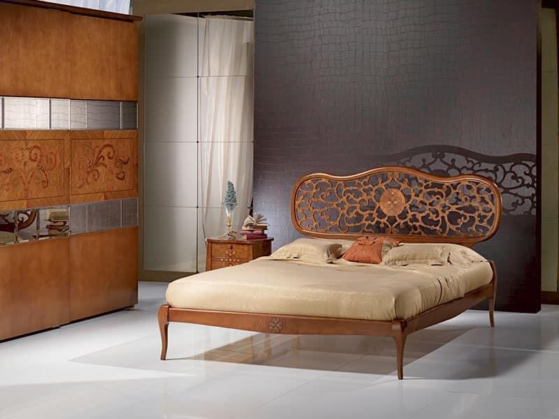 LE07 Novecento letto, Letto in legno massiccio, intarsiato, in stile classico