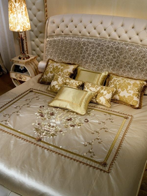 LE20 Vanity letto, Letto lussuoso laccato, testata e pediera capitonnè