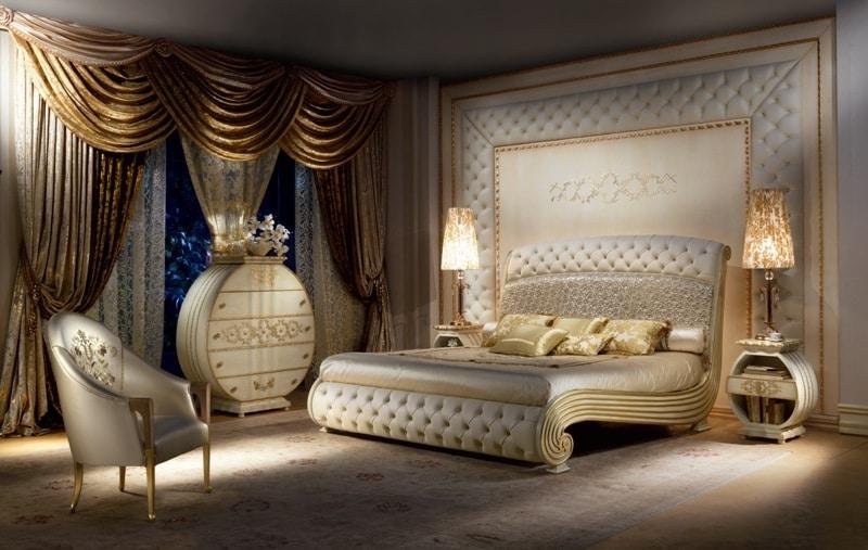 Letto lussuoso laccato testata e pediera capitonn - Camere da letto stile barocco ...