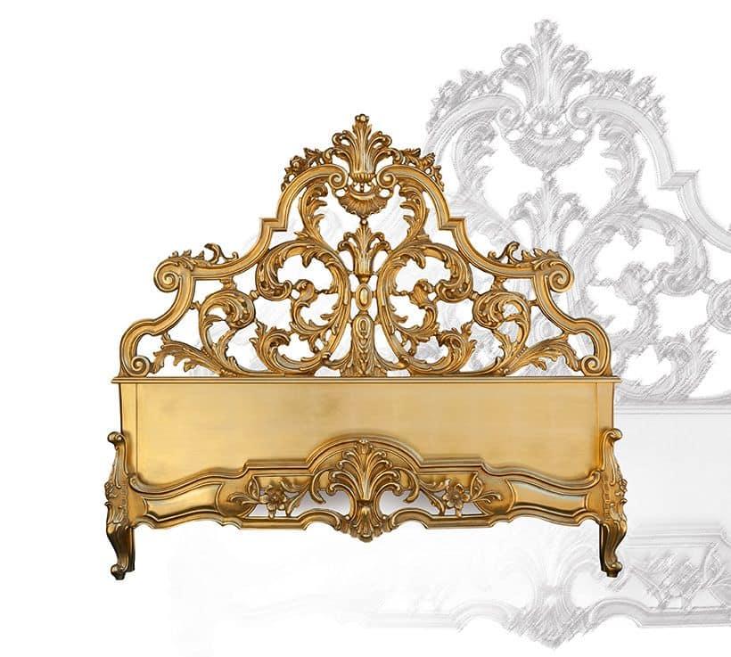 Letto in legno intagliato a mano stile barocco idfdesign for Letto stile barocco