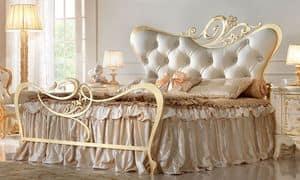 Maryrose Letto Oro, Letto matrimoniale in metallo, per camere da letto