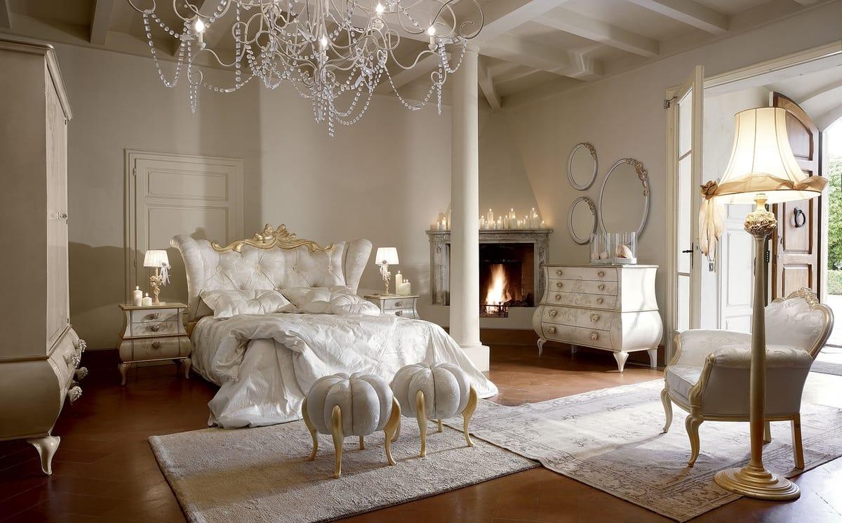 Matilde letto, Lussuoso ed elegante letto con dettagli oro sbiancato