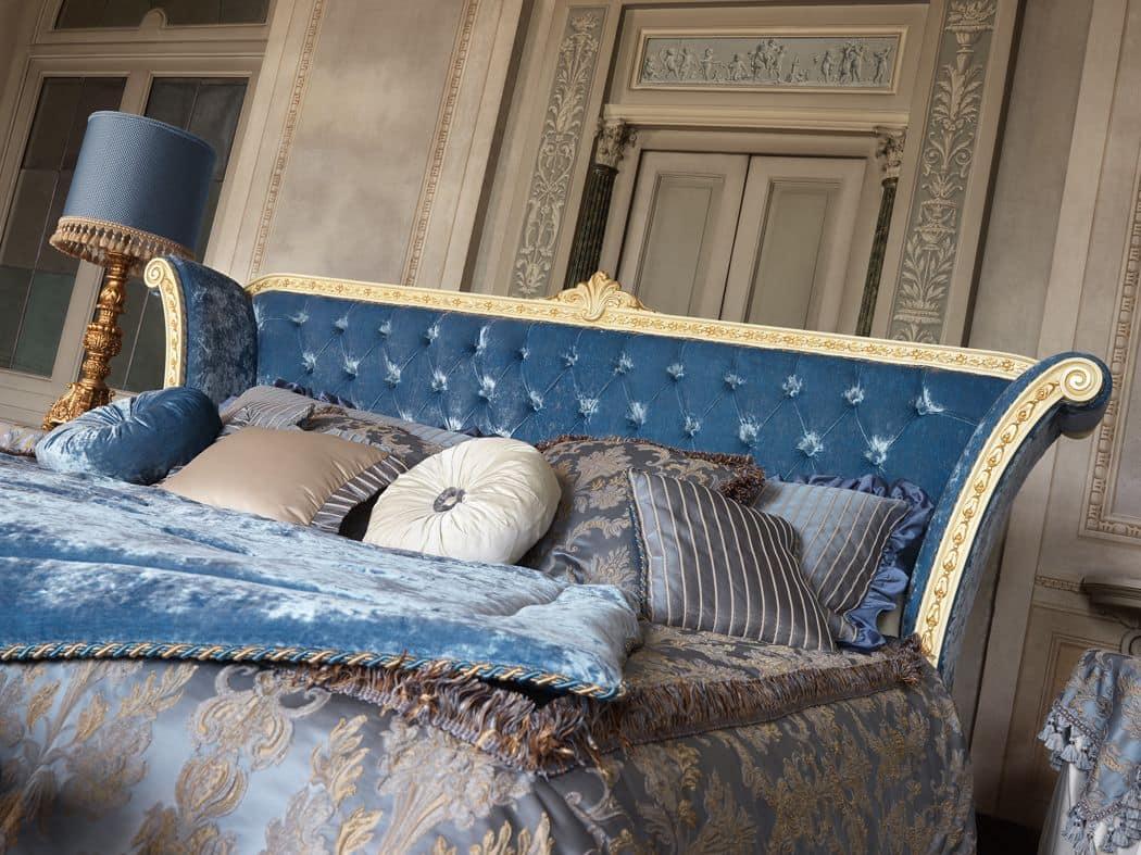 Monnet letto, Letto matrimoniale classico in legno verniciato bianco