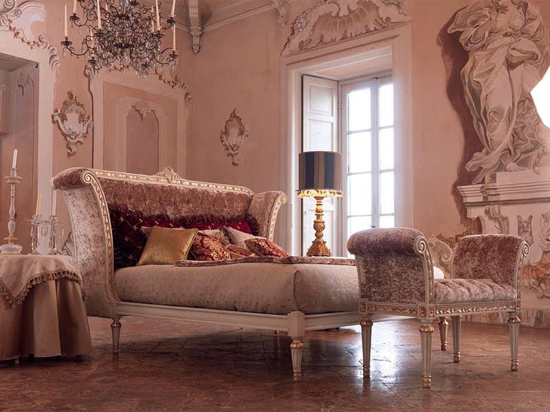 Letto matrimoniale classico in legno verniciato bianco idfdesign - Letto in legno bianco ...