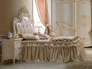 Perla Letto, Letto in legno intagliato, per camere da letto lussuose