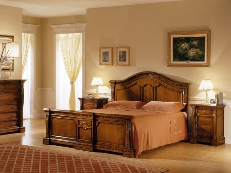 Letto matrimoniale in legno verniciato camera in stile idfdesign - Stanza da letto romantica ...