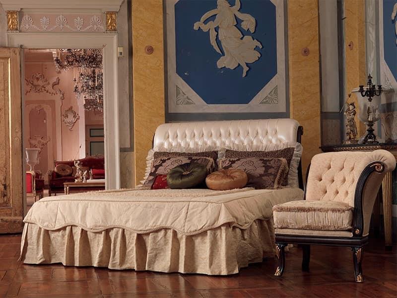 Rembrant letto, Letto in legno intagliato a mano, decori a foglia oro