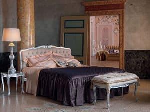 Renoir letto, Letto in stile classico, finitura argento, per albergo
