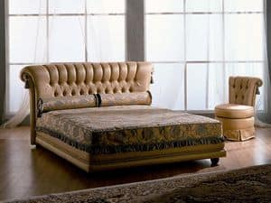 Tiziano letto, Letto in legno, classico, capitonnè, per camere d'alberghi