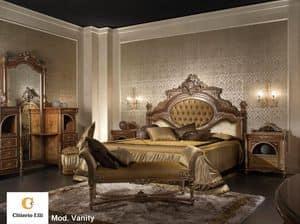 Vanity, Camera da letto classica di lusso, letto in legno massello