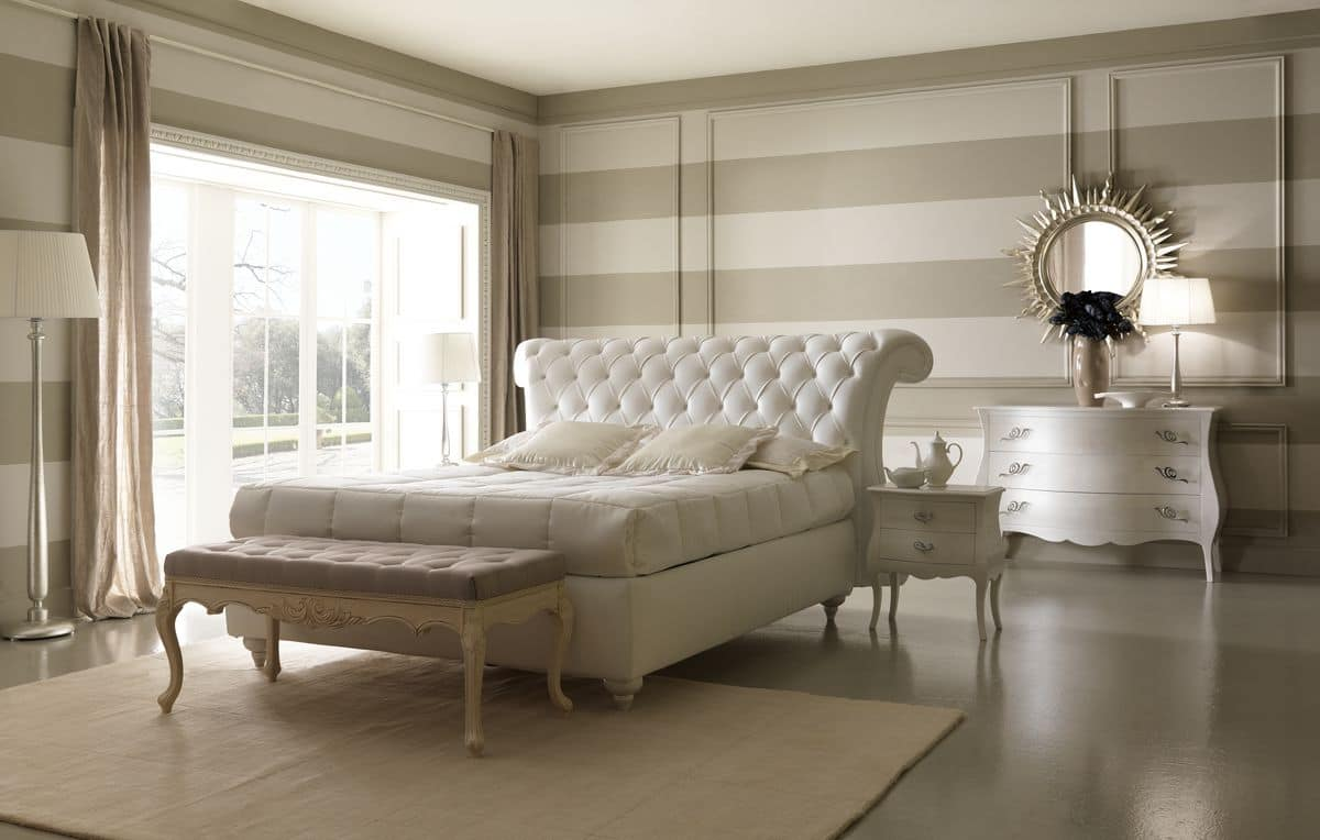 Comodo letto in stile classico con box contenitore - Camere da letto in pelle ...