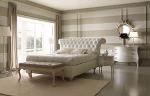 Via Montenapoleone 6050+6053 letto, Comodo letto in stile classico, con box contenitore, rivestito in pelle