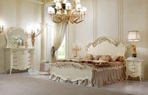 Vittoria Letto laccato, Letto matrimoniale in legno lavorato a mano, decorazioni dorate